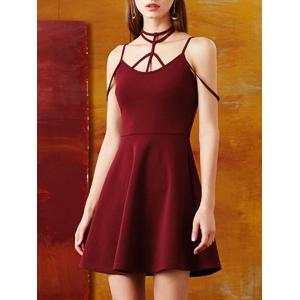 Roman Style Strapps Cut Out Flare Dress -