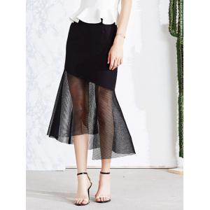 Vintage Mesh Spliced Sheer Asymmetric Mermaid Skirt -