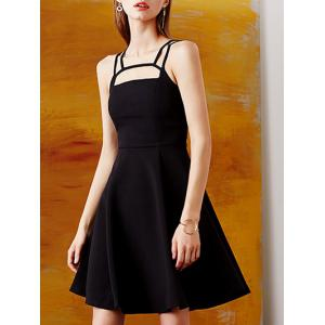 Retro Straps  Hollow Out Fit and  Flare Dress -