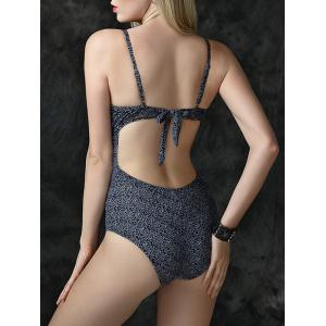Floral Pattern Lace-Up Hollow Out Swimsuit - DEEP GRAY 3XL