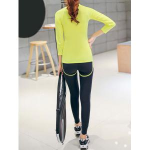 Pure Color 3/4 Sleeves T-Shirt and Color Block Leggings Set -