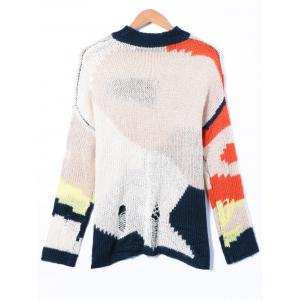 Ripped Round Neck Patchwork Sweater -