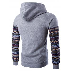 Color Block Tribal Printed Pocket Hooded Raglan Sleeve Hoodie - LIGHT GRAY 2XL