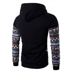 Color Block capuche Hoodie manches Raglan Tribal imprimé Pocket - Noir XL