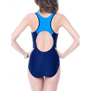 Color Block Holllow Out One Piece Swimsuit -