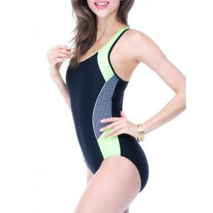 Color Block Holllow Out One Piece Swimsuit - BLACK AND GREEN 3XL
