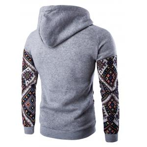 Ethnic Style Abstract Print Pocket Hooded Raglan Sleeve Hoodie - LIGHT GRAY 2XL
