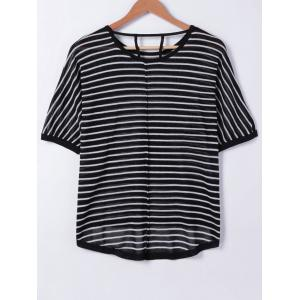 Stripe Cut Out Knit T-Shirt -