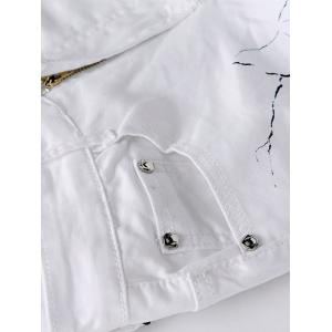 Zipper Fly Pocket Design Printed Slim-Fit Pants - WHITE 40