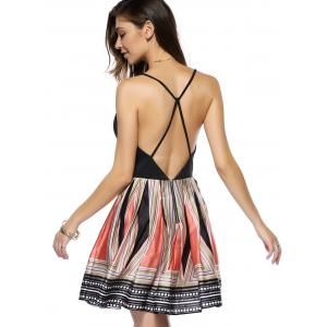 Criss Back Low Cut Printed Cami Dress - COLORMIX XL