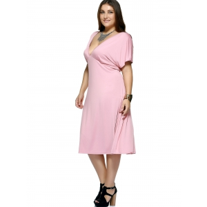 Plus Size Plunging Neck Tea Length Dress -