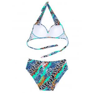 Halter Colormix Lace-Up Bikini Set - COLORMIX 6XL