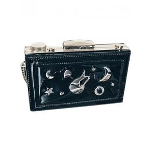 Square Shaped Chains Metal Evening Bag -