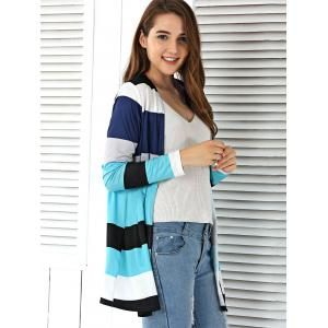 Open Front Colorful Striped Cardigan -