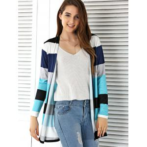 Open Front Colorful Striped Cardigan - COLORMIX M