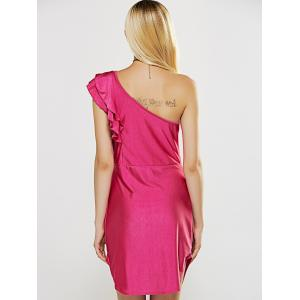 One Shoulder Flounce Curved Hem Sheath Dress -