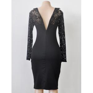 Turtleneck Long Sleeve Lace Spliced Sheath Dress - BLACK L