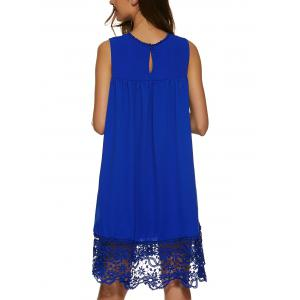 Lace Panel A Line Casual Swing Dress - SAPPHIRE BLUE S
