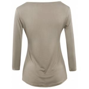 Asymmetrical Long Sleeves Ruched Blouse -