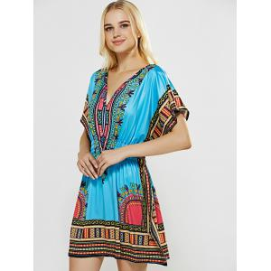V-Neck Totem Printed Shirred Waist Dress -