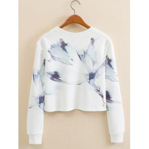 Abstract Ink Panting Cropped Long Sleeve Sweatshirt - WHITE L