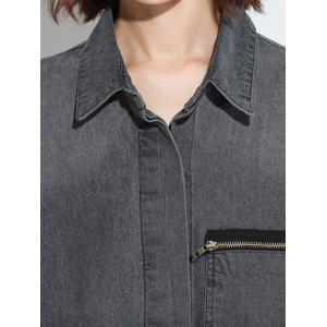 Zippered Loose-Fitting Pocket Design Denim Thin Coat -