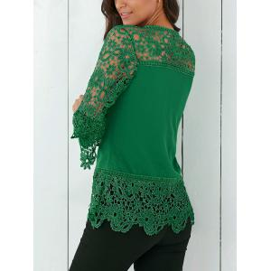 Lace Insert Crochet Lace Blouse - GREEN XL