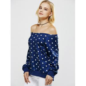 Off The Shoulder Five Point Star Print Sweatshirt -