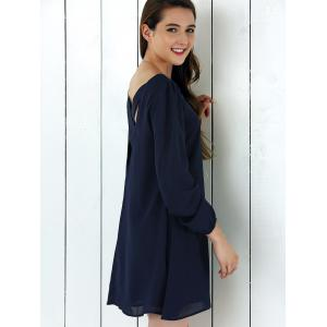 Criss-Cross Long Sleeve Chiffon Dress - PURPLISH BLUE M