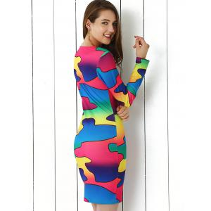 Brief Colorful Print Bodycon Dress -