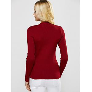 Choker Plunge Cut Out Long Sleeve Ribbed Knitwear - WINE RED XL