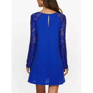 Long Sleeve Lace Jewel Neck Dress - SAPPHIRE BLUE S