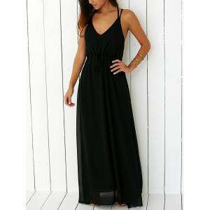Criss Floor Length Open Back Prom Dress - BLACK S