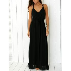 Criss Floor Length Open Back Long Party Slip Dress - BLACK S