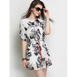 Flowers Print Drawstring Chiffon Dress -