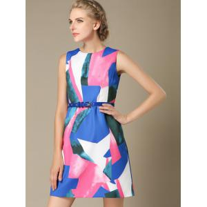 Sleeveless High Waist Color Block Dress -