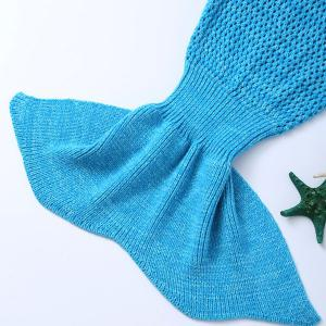 Bowknot Lace-Up Photography or Sofa Knitted Mermaid Blanket For Kids -