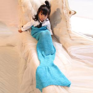 Bowknot Lace-Up Photography or Sofa Knitted Mermaid Blanket For Kids - BLUE