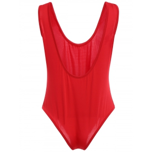 Chic Plunging Neck Red One Piece Swimwear For Women -