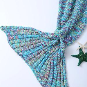 Stylish Falbala Photography or Sofa Mixed Color Knitted Mermaid Blanket - OCEAN BLUE