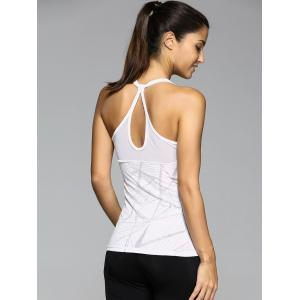 Stylish U Neck Letter Printed See-Through Sport Women's Tank Top -