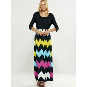 Hit Color Zig Zag Pattern Maxi Dress - BLACK XL