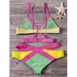 Women's Bandage Bikini Set Push-up Padded Bra Swimsuit Bathing Mixed Colors Suit Swimwear -