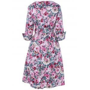 Vintage Surplice Shawl Collar Cuffed Sleeve Belted Floral Dress For Women -
