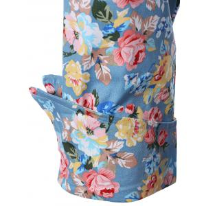 Vintage Belted Surplice Shawl Collar Cuffed Sleeve Floral Dress For Women -