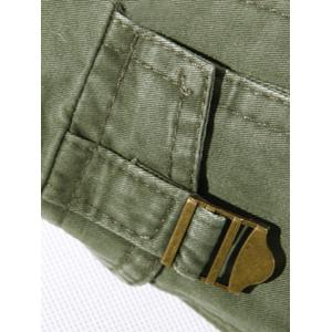 Plus Size Buckle Strap Cargo Pants - BROWN 38