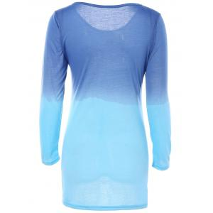 Gradient Color Round Collar Long Sleeve T-Shirt Dress - BLUE XL