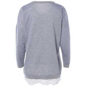 Laciness Spliced Tower Print Long Sleeve Sweatshirt - LIGHT GRAY 4XL