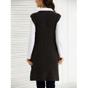 V-Neck Furcal côtelé Knitting Dress -