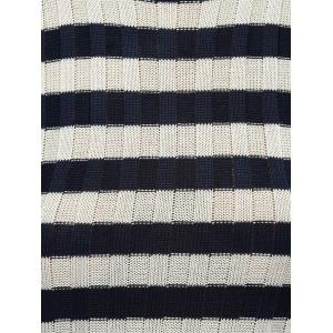 Sleeveless Striped Furcal Ribbed Knitwear -